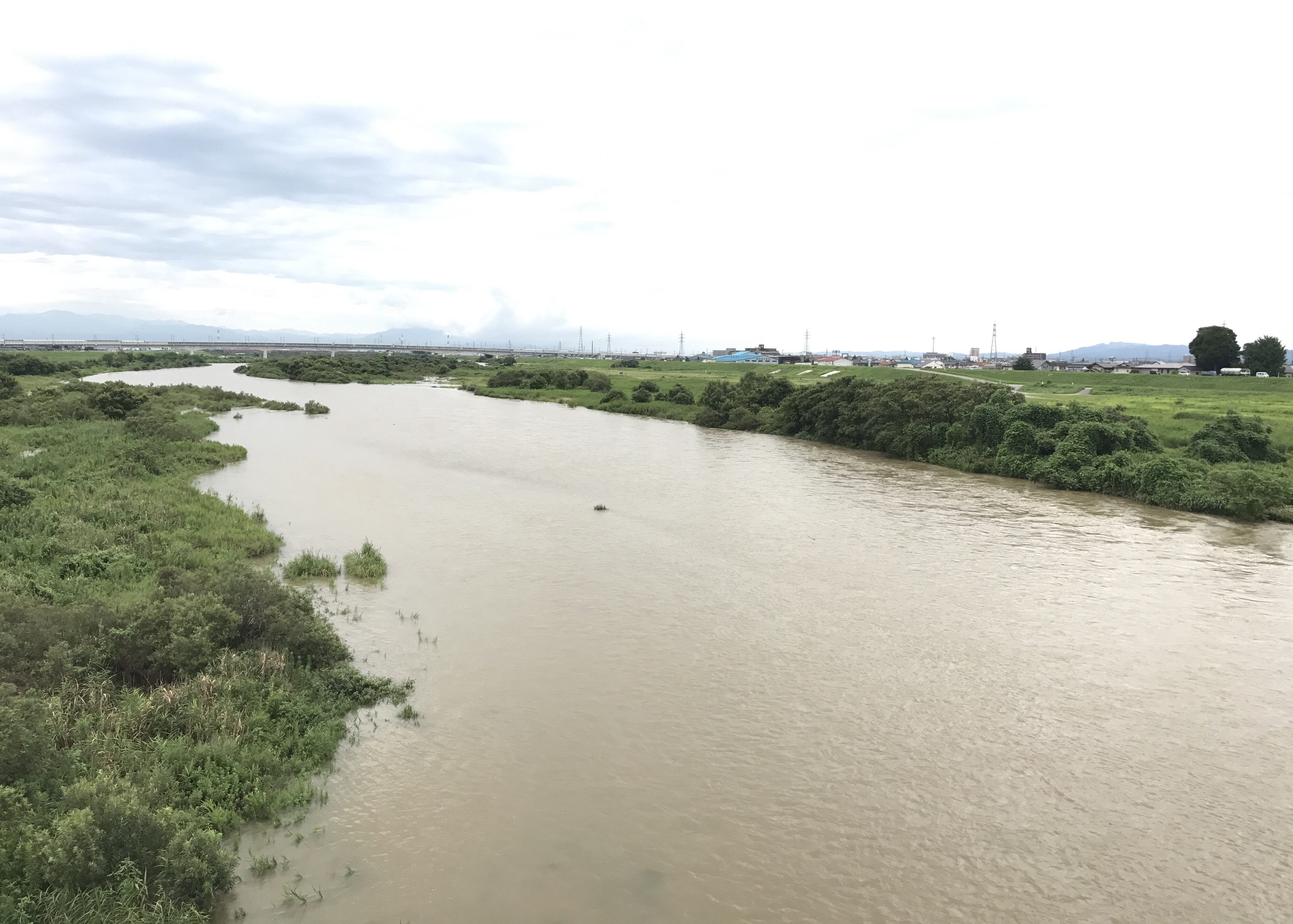 大雨により増水
